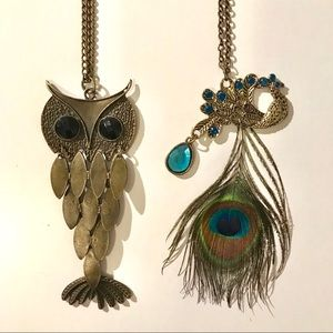 Owl + Peacock feather Necklace Bundle